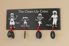 Stick Family Chore Chart distressed wood sign by Family Chore Charts, Weekly Chore Charts, Chore List, Chore Board, Chalkboard Tags, Stick Family, Family Family, Distressed Wood Signs, Chores For Kids