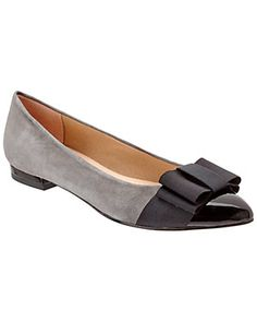 French Sole Eliza Suede & Patent Leather Ballet Flat