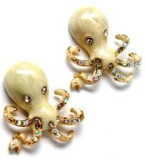 """Make a statement with a pair of these cute crystal studded octopus earrings.    Size: 1"""" width  Style: post  Color: natural (see my listings for other available colors!)    Free US shipping with delivery confirmation.  Thank you for looking and happy sho..."""