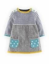 Sweet Knitted Dress (Grey Marl/Soft Navy Stripe)