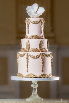'Peach Baroque' wedding cake, £775 (serves 80), Elizabeth's Cake Emporium