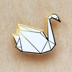 Origami pins: Swan