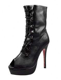 5849a5df0170 Excellent red bottom shoes ankle boots sheepskin peep toe Black Must Have