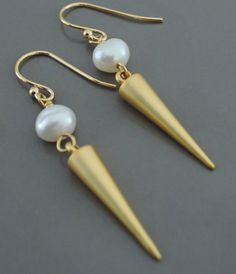 Earrings  Gold and Pearl Geometric Cone by FreshJewelryDesign, $34.00