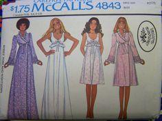 Vintage 1970s McCall's 4843 LAURA ASHLEY Nightgown & Robe Pattern sz  6-8 UNCUT