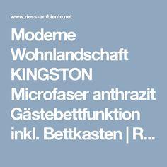 Moderne Wohnlandschaft KINGSTON Microfaser anthrazit Gästebettfunktion inkl. Bettkasten   Riess-Ambiente.de