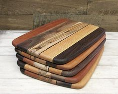 Large Wood Cutting Board, Mixed Woods, Walnut, Cherry & Ambrosia Maple Wood, With or Without Handling Hole Wooden Chopping Boards, Wood Cutting Boards, Wedding Shower Gifts, Serving Board, Wooden Spoons, Wood Crafts, Woodworking, Ceramics, Woods