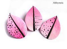 Tutorial Pink Leaf, a polymer clay tutorial by Alkhymeia (translate)