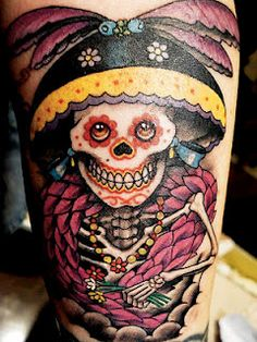 skeleton sugar skull tattoo