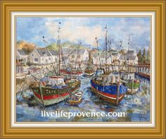 Decorate and Enjoy your Home with Provencal Fine artwork with Original Marina	(Le 	Port de Bessin) by renowned French Artist Philippe GIRAUDO. 	www.livelifeprovence.com #llprovence Fine Artwork, Painting, Artwork, French Artists, Original Artwork