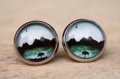 Green Misty Tree Earrings