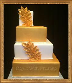 Pensacola Wedding Cakes Custom Gold White Cake Designed For A Bridal Show At