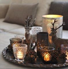 Candles At Christmas Table Decor.