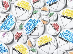 "Experimental Jetset – Whitney Museum identity – Buttons featuring various versions of the ""responsive 'W'"""