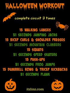 Itz a Halloween Workout - all you need is a set of dumbbells! Alternate between cardio blasts and strength training exercises for a creepily good burn!