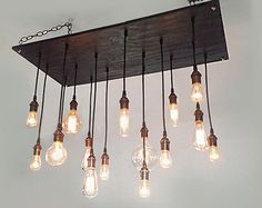 Rustic Chandelier: Industrial Lighting, Vintage Bulbs, Modern Lighting, Industrial Chandelier. Reclaim Wood Chandelier