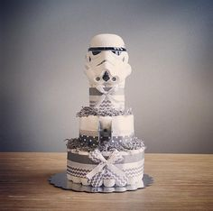 Storm Trooper diaper cake with hot wheels Tie by JennyKnickDesigns