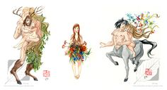 Young nymphs - watercolors sketches - by Ofride.deviantart.com on @DeviantArt