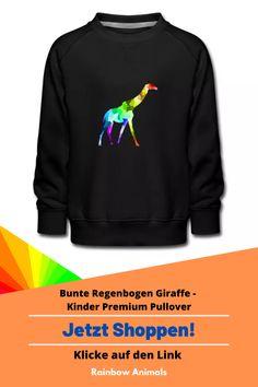 Kaufe dir jetzt diesen Pullover für deine Kinder. Lass dir dieses und weitere Tier-Zeichnungen auf deine Kinder-Mode drucken   Schau jetzt in unserem Shop vorbei! Klicke jetzt auf den Link! #Pullover #Kindermode #Stile #Kinderstile #Spreadshirt #Giraffe #Rainbowanimals #Mode