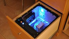 """Build a Computer Into Your Desk for Easy Upgrades, Hidden Cables - - If you're tired of wrestling with cables and having to take everything apart just for a simple hard drive upgrade, this DIY """"PC in a desk"""" could solve many of your woes. Diy Computer Desk, Computer Build, Pc Desk, Desk Pc Build, Work Desk, Gaming Computer, Pc Cases, Watercooling Pc, Console Style"""