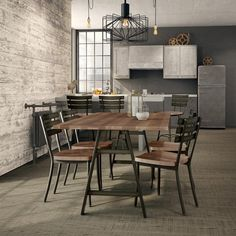 Amisco Bridgeport Metal Table with Wood