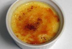 Cream brulee: 4 eggs 6 Tablespoons, Sugar,1 Pint Heavy cream,1 Teaspoon Vanilla,Dash of salt,Torch,Custard cups,  Whisk, Small bowl, Medium microwave safe bowl, Roasting pan, Oven,1 Microwave