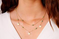 Turquoise and Gold Layered Gold Necklace Set  by LayeringLove