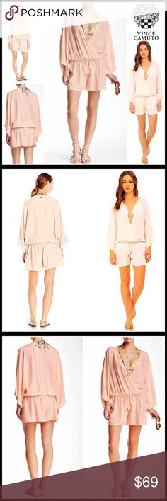 """⭐⭐ VINCE CAMUTO Resort Romper 💟NEW WITH TAGS💟  SIZING- M/L = approx sizes 8-12 VINCE CAMUTO Resort Romper  * Relaxed cover-up style  * Surplice neck, elasticized waist w/faux drawstring & long kimono sleeves   * Super comfortable style  * Approx 35"""" long;3.5"""" inseam  * Lightweight fabric    FABRIC-100% Viscose COLOR-Blush Balm Item- # Pastel # Shirt dress jumpsuit  🚫No Trades🚫 ✅ Offers Considered*✅  *Please use the blue 'offer' button to submit an offer. Vince Camuto Dresses Mini"""