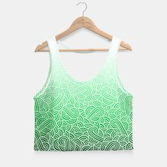 """""""Ombre green and white swirls zentangle"""" Crop Top by @savousepate on Live Heroes #croptop #croptank #fashion #clothing #apparel #pattern #drawing #zentangle #doodles #abstract #vibrant #ombre #gradient #white #green #emerald #forestgreen #irish #stpatricksday #saintpatricksday"""