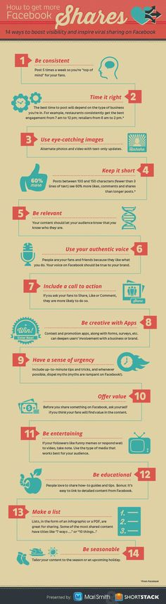 Ways To Get More Shares On Facebook [#infographic; http://hosting.ber-art.nl/more-shares-on-facebook]