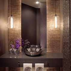 Powder Room - Contemporary with a metallic hue palette, unique tiles & wall cove. Powder Room - Contemporary with a metallic hue palette, unique til Contemporary Bathroom Designs, Contemporary Decor, Contemporary Bathroom Lighting, Contemporary Curtains, Contemporary Stairs, Contemporary Building, Contemporary Cottage, Contemporary Apartment, Contemporary Wallpaper