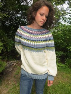 womens handknit Nordic style sweater in ecru.
