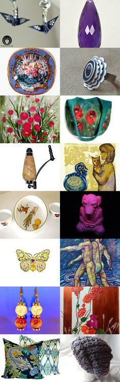 A Wonderful Art & Jewelry Collection! :-) by Céline on Etsy--Pinned with TreasuryPin.com #OriginalArt #HandcraftedJewelry #DecorativePlates #Flowers