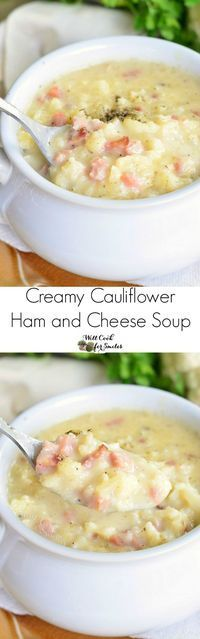 Keto: Creamy Cauliflower Ham and Cheese Soup. Made with cauliflower, ham, and white cheddar cheese, this soup is hearty enough without having any pasta or potatoes packed in it.