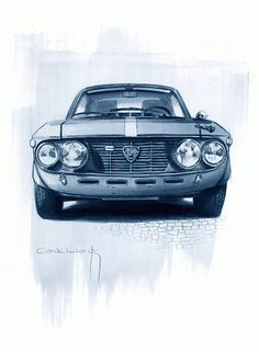Sketchbook historic cars Pictures: Il Lancismo - Novecento Italiano - Fulvia Fanalone... Rally Car, Car Car, Car Illustration, Illustrations, Cars Vintage, Lancia Delta, Car Sketch, Car Painting, Art Plastique