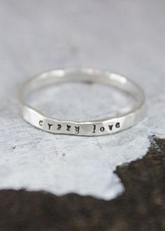 Name Stacking Ring Fine Silver Name Stacked Skinny Ring by TagYoureItJewelry #stackingring