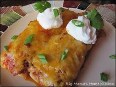 Big Mamas Home Kitchen: Beef Taco and Cheese Enchiladas big-mama-s-favorites Best Enchiladas, Cheese Enchiladas, Mexican Dishes, Mexican Food Recipes, Beef Recipes, Recipies, Hamburger Meatball Recipe, Meatball Recipes, Recipes Using Ground Beef