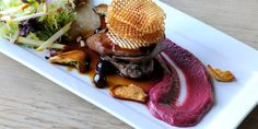 This is a classic wood pigeon recipe from chef Mark Dodson. Blueberry jus, beetroot purée and quirky potato crisps finish this wood pigeon recipe beautifully