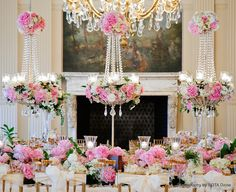 Centerpieces pink, white and clear jewels