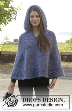 "Knitted DROPS poncho with hood and vent, worked top down in ""Eskimo"". Size S-XXXL. ~ DROPS Design"