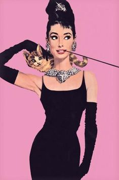 Audrey Hepburn Breakfast At Tiffanys Pink Movie – Poster - Canvas Print - Wooden Hanging Scroll Frame