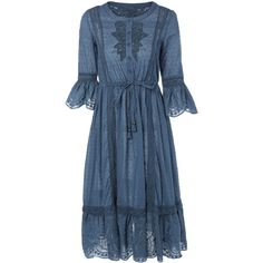Flare Sleeve Embroidered Midi Dress ($30) ❤ liked on Polyvore featuring dresses, bell sleeve dress, blue midi dress, flared sleeve dress, calf length dresses and blue dress