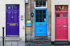 Doors in Bath, England - The Brits love their bright, colorful doors. The door to our house was bright red and our next-door neighbors door was blue!