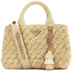 8b98aff4b5c Prada Rafia Tote (€1.670) liked on Polyvore featuring bags