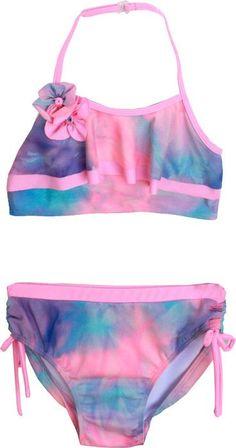 2c22a01a5c Isobella & Chloe Watercolor Pink/Purple/Aqua Two Piece Halter Ruffle  Swimsuit