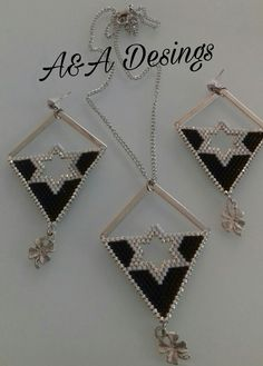 Miyuki delica beads necklace and earring desing
