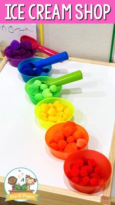 Your kids will love sorting pom poms into colorful bowls in your pretend play ice cream shop! Ice Cream Parlour Role Play, Play Ice Cream, Ice Cream Theme, Ice Cream Games, Dramatic Play Themes, Dramatic Play Area, Dramatic Play Centers, Summer Preschool Activities, Preschool Colors