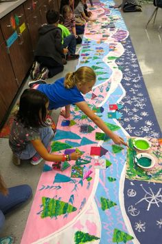 A Winter Mural Collaborative from Cassie Stephens: In the Art Room:  #art #winter