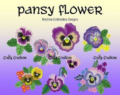 Time for Spring!!  Pansy Flower Machine Embroidery Design by 4CraftyCreations on Etsy, $4.49