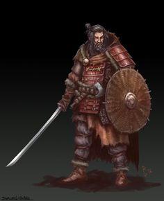 Clash of Cultures Samurai Viking by Rastislav Le Character Concept, Character Art, Concept Art, Character Design, Character Ideas, Fantasy Samurai, Samurai Art, Dnd Characters, Fantasy Characters